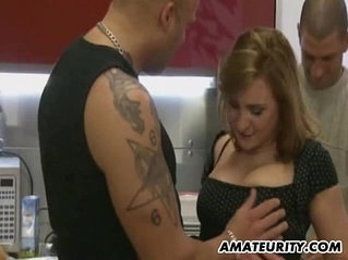 Busty blonde amateur ExGf anal threesome sex with facial