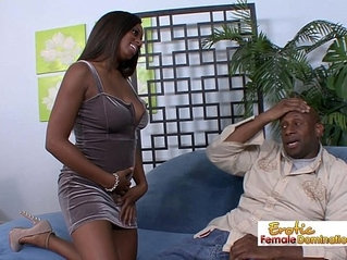 Curvy busty slut sucks and fucks her horny daddy on the couch
