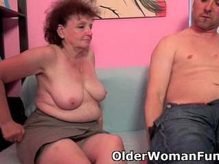 Chubby grandma enjoys cock in her mouth and pussy