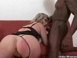 Depraved milf devours a black huge cock