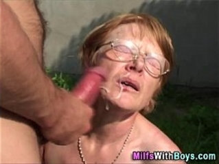 Granny In Glasses Face With Cum