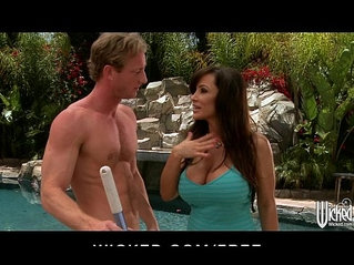 Big boobed brunette MILF Lisan Ann fucks her young cock by the pool