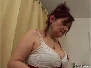 Busty hairy granny gets her ass banged