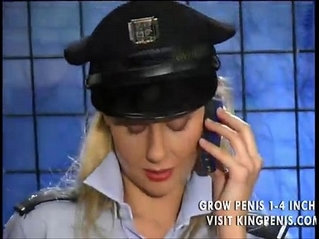 Police girl inserts the baton in her tight cunt