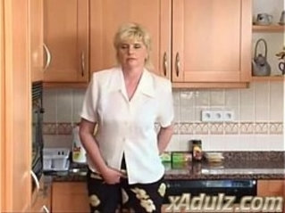 Horny Blonde Granny in the Kitchen Masturbates to Orgasm with her Dildo