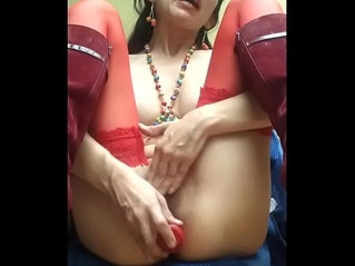 Hot beauty toying her ass and masturbating