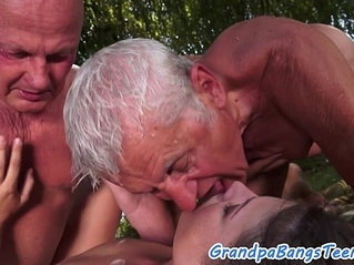 Teen outdoor threesome with seniors