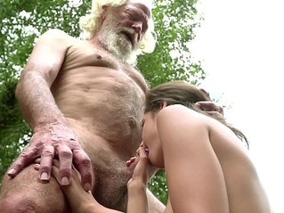 70 year old grandpa fucks 18 year old girl with pleasure and swallows