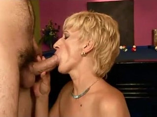 Hot granny gets fucked on a pool table