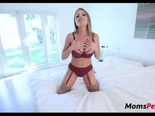 Busty stepmom shows her new lingerie to her son