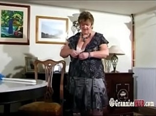 Lovely BBW Granny With Huge natural Tits Striptease And Masturbation