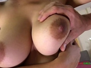 Busty naturals creampie with light skinned Thai girl